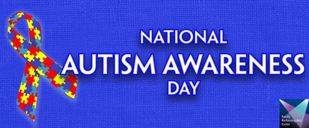 National Autism Day Banner, Ribbon on Blue Woven Background